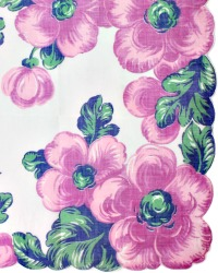 Vintage Voile Handkerchief Purple Blue Flowers