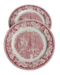 Vintage Red Transfer Farmhouse Large Plates Set of 2