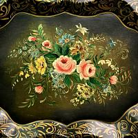 Hand Painted Black Tole Tray Jardin Roses