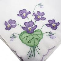 Vintage Hand Embroidered Madeira Handkerchief Purple Violets
