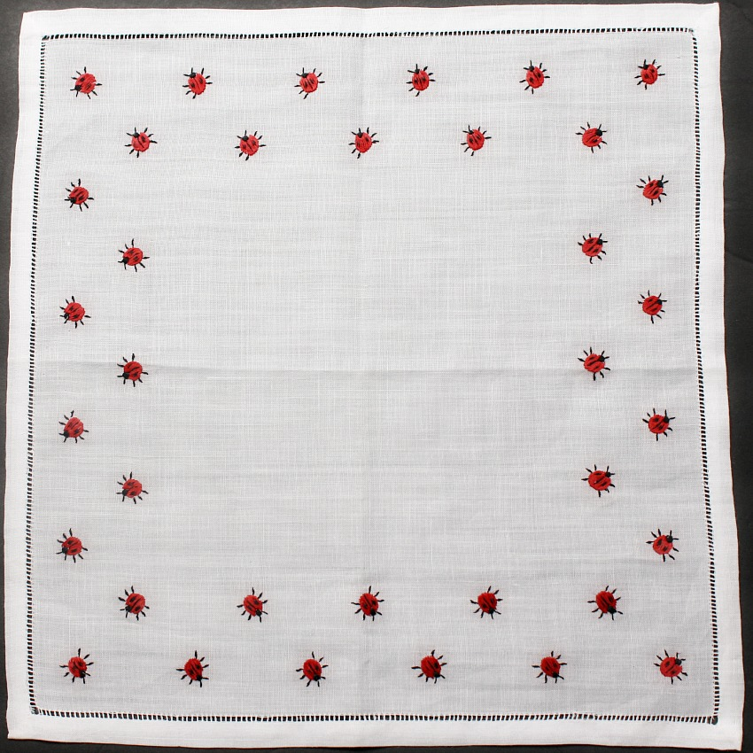 Vintage White Linen Handkerchief with Red Embroidered Ladybugs