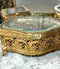 Ornate Gilt Filigree Jewelry Casket Box