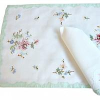 Hand Embroidered Pastel Placemats, Napkins and Runner Set for 8