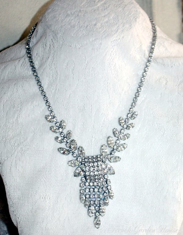 Vintage Rhinestone Waterfall Necklace