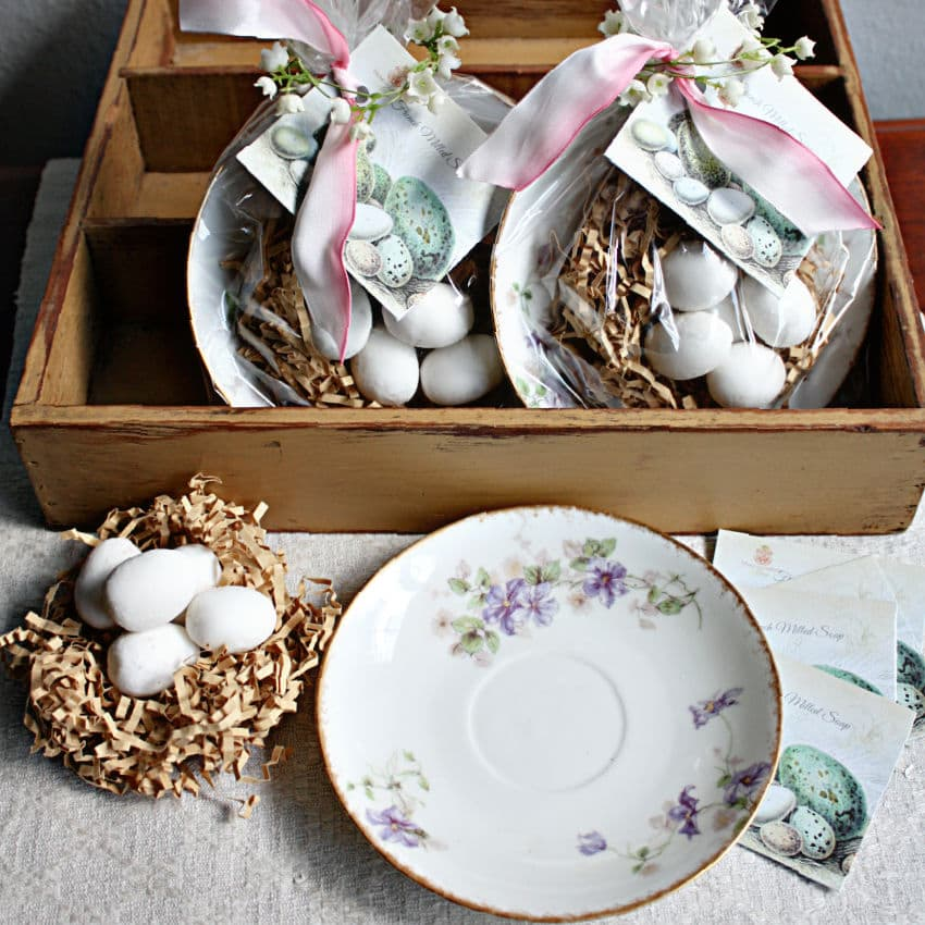 Blue Robin's Egg Soaps & Limoges Violets Antique Dish