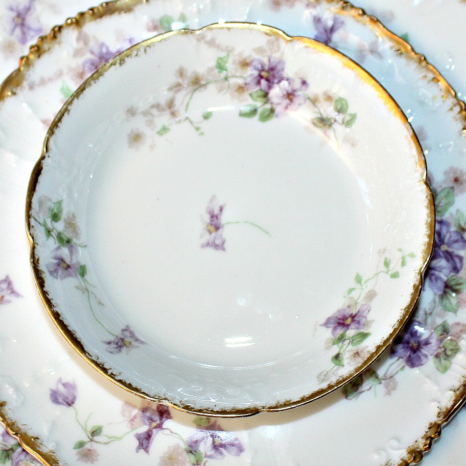 Antique French Haviland Limoges Purple Violet Floral Berry