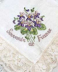 Antique French Silk Souvenir Handkerchief Purple Violets