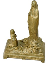 Antique French Virgin Mary Our Lady Lourdes & St Bernadette Statue