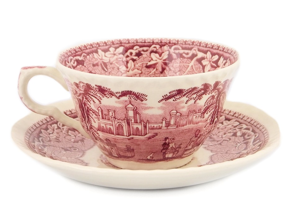 1940 English Red Transferware Tea Cup and Saucer