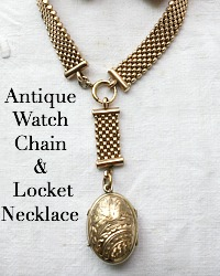 Estate Antique Victorian Watch Chain Bird Locket Necklace