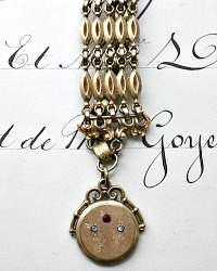 Georgia Hecht One of a Kind Antique Gold Filled Jeweled Watch Fob Bracelet
