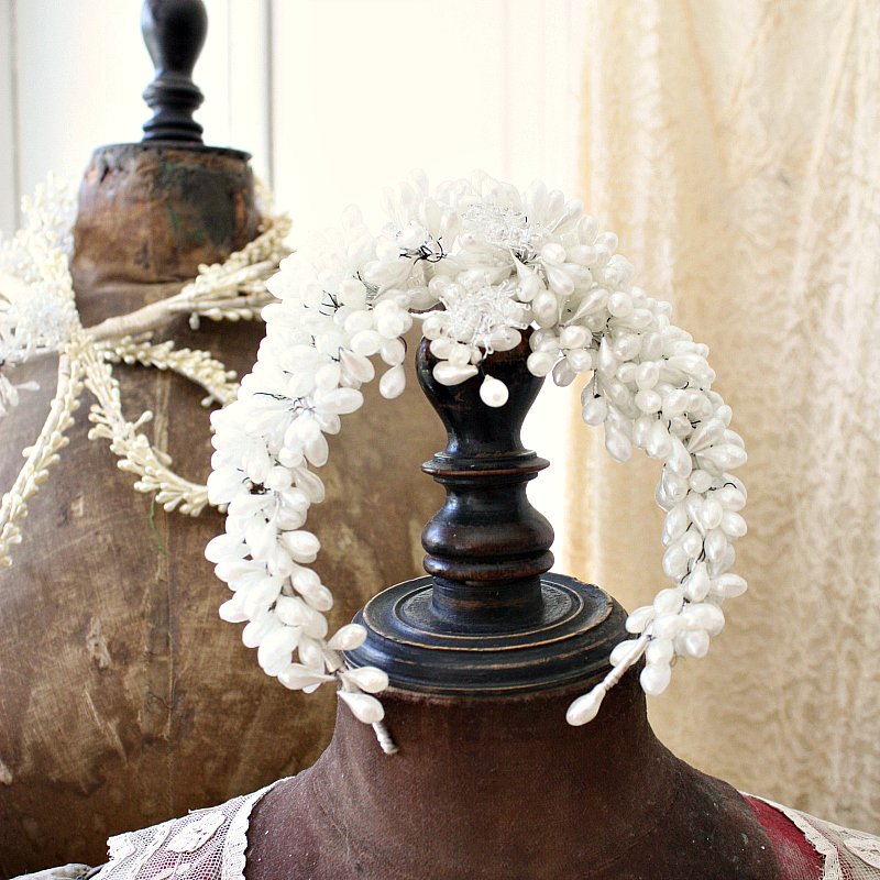 Antique French Wax and Glass Flowers Floral Wedding Crown Tiara