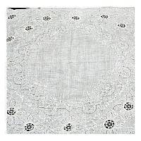 Antique Appenzell Embroidered Swiss Linen Handkerchief Inset
