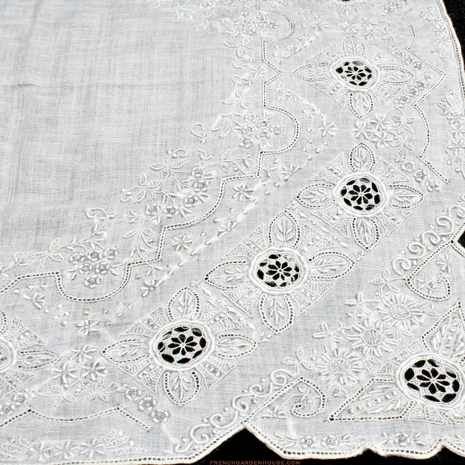 Antique Appenzell Embroidered Swiss Linen Wedding Bridal Handkerchief #4