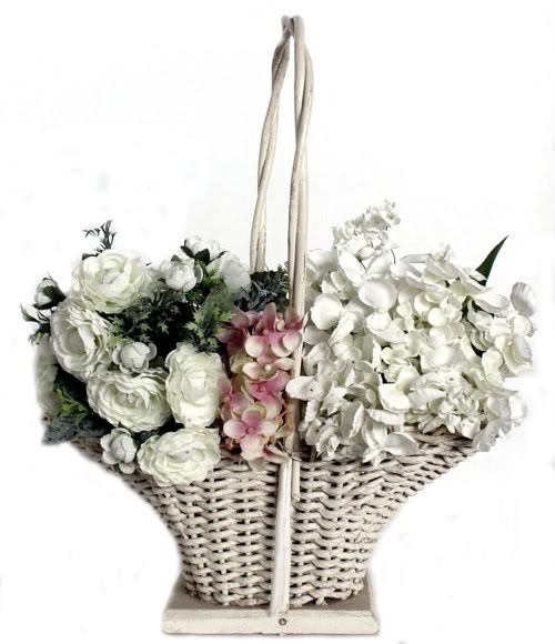 Antique Victorian White Wedding Flower Girl Floral Basket