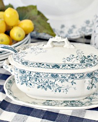 19th Century English Wedgwood & Co. Blue Transfer Sauce Tureen, Underplate and Ladle