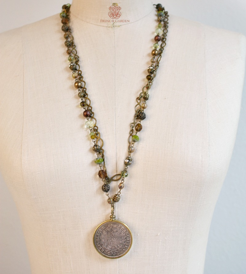 French Currency Well Traveled Necklace