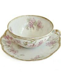 Antique French Limoges Pink Wild Rose Tea Cup & Saucer Set