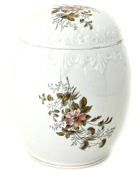 Antique Hand Painted Porcelain Biscuit Barrel