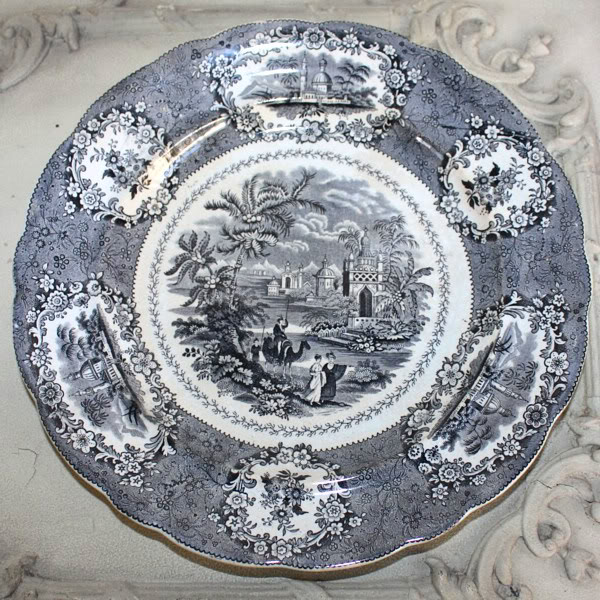 Antique 19th Century Black Transferware Dinner Plate