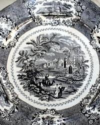 Antique 19th Century Black Transferware Dinner Plate William Ridgway Oriental