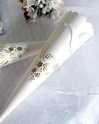 Vintage French Large Paper Wedding Favor Cone Bouquet