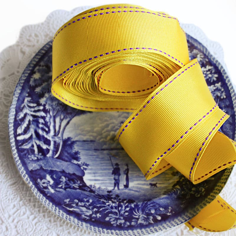 Soleil Yellow French Wired Grosgrain Ribbon