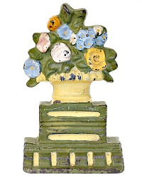Cast Iron Floral Urn Doorstop Yellow Garden Flowers